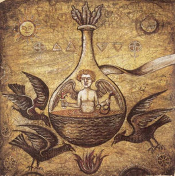 alchemical-illustration-of-a-homunculus-in-a-vial