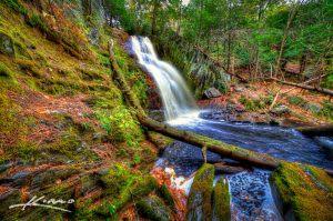 Beautiful Cascade Waterfall in Saco Bay Trails Maine
