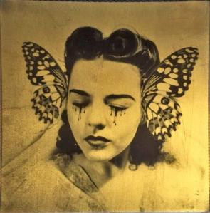 Butterfly_collector_24ct_gold_leaf_Polaroid_collage_by_Andrew_Millar_art